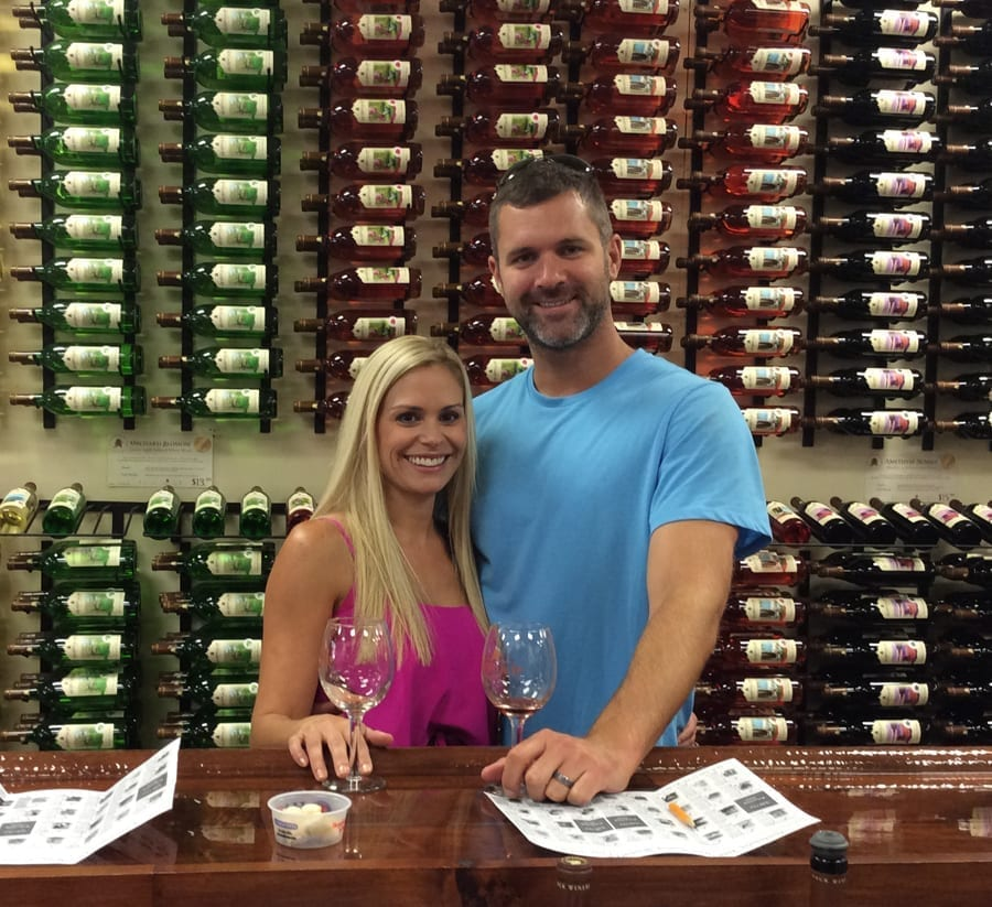 Happy couple visiting the Adirondack Winery!