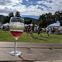 Red Wine Glass on Picnic Table Adk Wine Fest