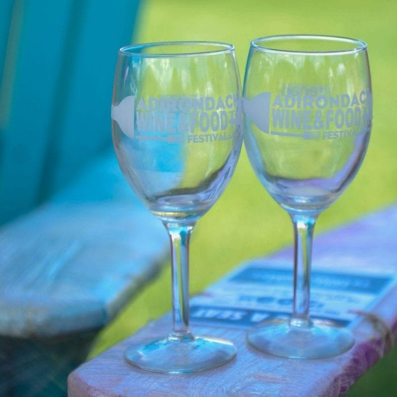 Your DD/Underage tickets include these cute ADK Wine and Food Fest wine glasses! *Thanks to our Official Wine Glass Sponsor, Dejabrew